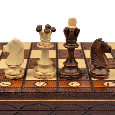 Contemporary Chess 40856 Handmade European Wooden Chess Set With 16 Inch Board And Hand Carved Chess Buy It Now O Wooden Chess Set Wooden Chess Chess Board