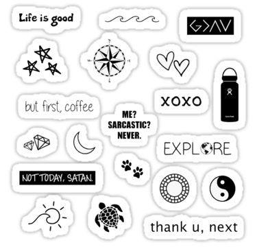 Black White Sticker Pack Sticker Black Stickers Cute Laptop Stickers Black And White Stickers