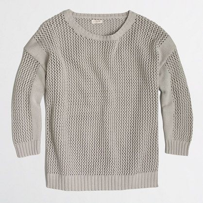 fdc3c2c66a J.Crew Factory Open Knit Beach Sweater Cozy seafoam green sweater. Worn one  time! Cotton. 3/4 length sleeves. Hits at hip. J.Crew Fac…