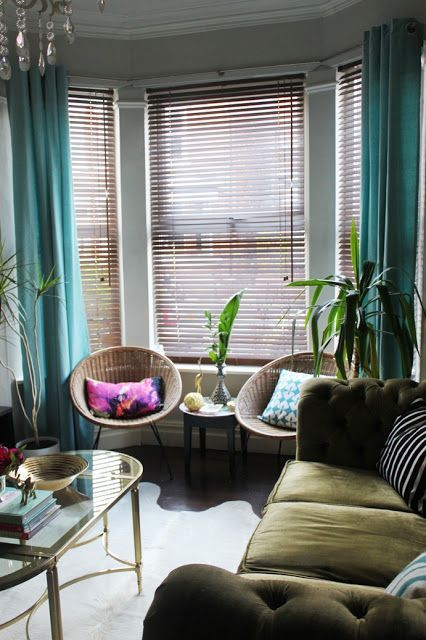 Bay Window Curtains In Turquoise Bay Window Living Room Velvet Curtains Living Room Living Room Blinds
