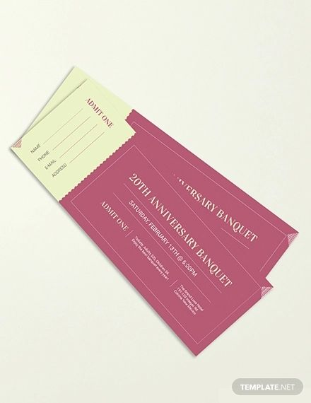 Banquet Ticket Template Pdf Word Doc Psd Indesign Apple Mac Pages Illustrator Publisher Ticket Template Ticket Template Free Templates Free Design