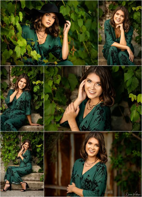 senior pictures | senior poses | indoor photo shoot | cedar rapids, Iowa | outfit inspo | eleanor kathryn photography | #ekpseniors | Green leaves | Stair poses | Green Jumpsuit from Lulus
