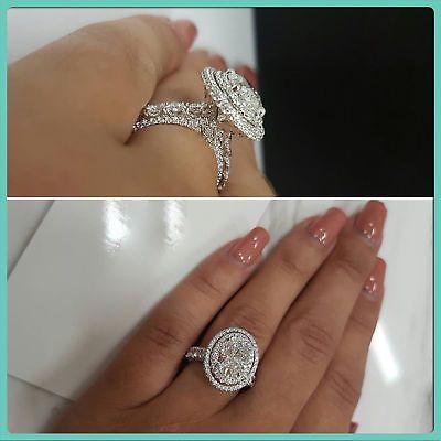 2 CT diamond oval ring halo engagement wedding 14k white gold bridal D vvs1