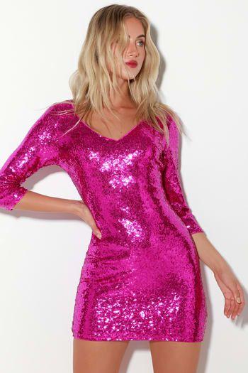 19+ Hot pink sequins dress info