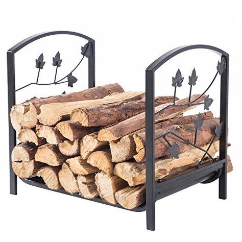 rustique rectangulaire en m/étal Noir Journal de bois de chauffage support Rack avec d/écoupe Motif feuille de branche darbre