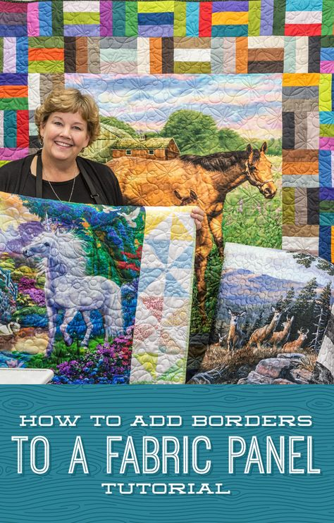 Quilting Ideas In this tutorial, Jenny shows us how to jazz up a panel with three different border ideas! Watch the How to Add Borders to a Fabric Panel today! Missouri Quilt Tutorials, Quilting Tutorials, Quilting Designs, Quilting Ideas, Msqc Tutorials, Quilting Projects, Modern Quilting, Quilt Boarders, Borders For Quilts