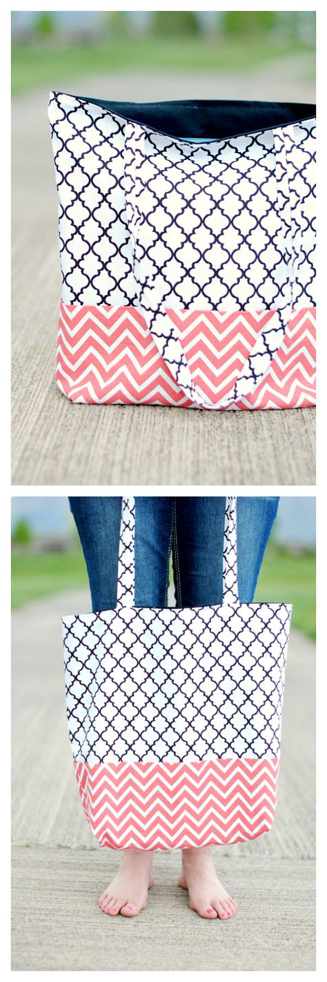 Simple Tote Bag Pattern! Love this cute tote! Sewing pattern and tutorial. Crazy Little Projects