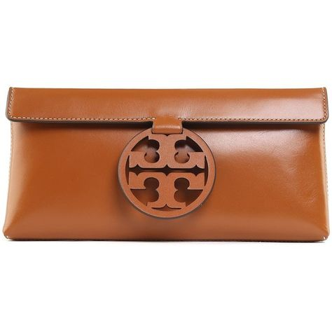 ac2ed45152684c Tory Burch Miller Smooth-Leather Clutch (18.150 RUB) ❤ liked on Polyvore  featuring bags