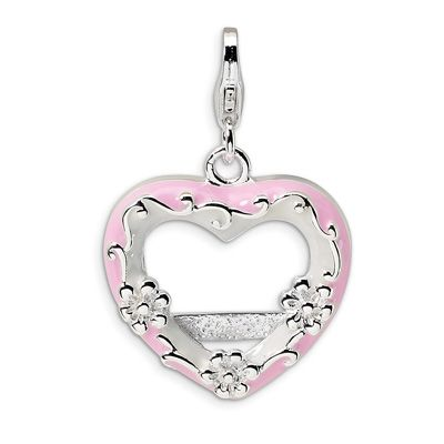 Amore La Vita Sterling Silver Polished Follow Your Heart Lobster Clasp Charm