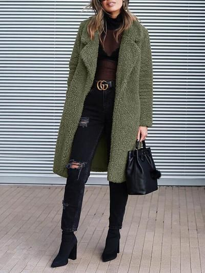 Fashion Turn Down Plain Pocket Long Coats - dressesstar