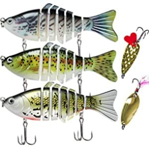 5 Pieces Metal Fishing Lures Baits Fishing Spinnerbaits Swimbaits with Hooks