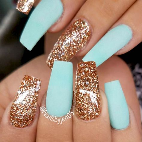 birthday birthday nails 15 Minion Nails That Are Anyth Tapered Square Nails, Minion Nails, Gold Glitter Nails, Blue Gold Nails, Tiffany Blue Nails, Glitter Gif, Aqua Nails, Tiffany Green, Glitter Nail Polish