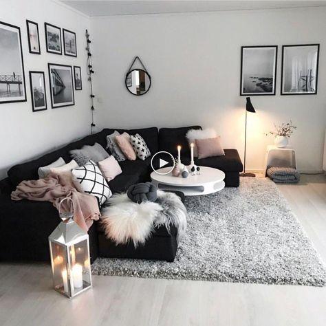 Salon Confortable Et Moderne Noir Blanc Gris Rose Ideesdesalon Decorationdesalon Idee Deco Salon Gris Deco Appartement Deco Maison Design