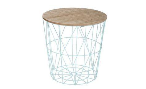 Conforama Tavolini Da Salotto.Pouf In Metallo Azzurro Con Coperchio In Legno 39 5x41 Cm