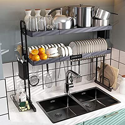 Amazon Com Over The Sink Dish Drying Rack 2 Tier Stainless Steel Expandable Dish Rack 27 5 33 5 With Utens Kitchen Arrangement Dish Rack Drying Kitchen