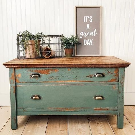 "Chippy chest painted in my favorite milk paint color ""Farmstead"" The top of this chest is the natural wood, sealed with… Milk Paint Furniture, Refurbished Furniture, Repurposed Furniture, Furniture Projects, Furniture Makeover, Green Painted Furniture, Furniture Websites, Primitive Furniture, Distressed Furniture"