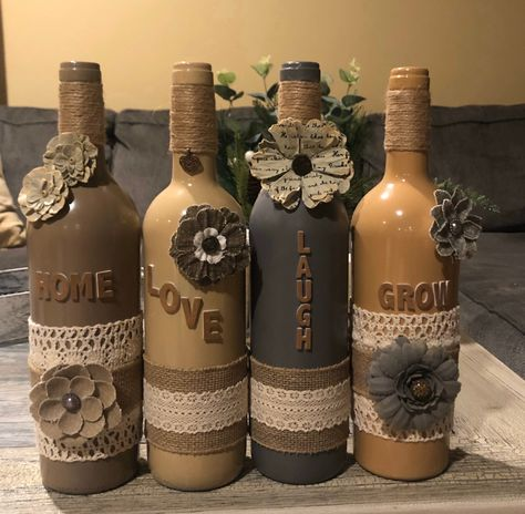 Excited to share this item from my shop: Personalized wine bottle decor Alcohol Bottle Crafts, Glass Bottle Crafts, Wine Bottle Art, Diy Bottle, Decorated Alcohol Bottles, Bottle Wall, Wine Art, Recycled Wine Bottles, Twine Wine Bottles