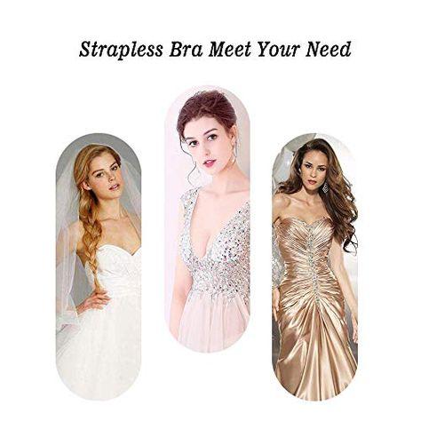 Yoobure 2 Pack Strapless Bra Self Adhesive Backless Sticky Bras Women Drawstring Silicone Push up Bras