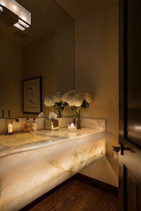 Aesthetic Powder Room Sinks And Vanities Image Gallery in Powder Room Contemporary design ideas with Aesthetic accessories bathroom custom vanity decor feminine feminine bathroom floating vanity lit onyx