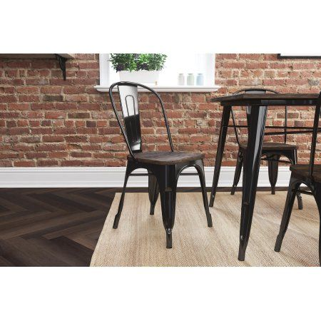 Tremendous Better Homes And Gardens Aidan Metal Dining Chair With Wood Machost Co Dining Chair Design Ideas Machostcouk