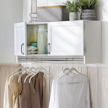 Wall Mounted Storage Cabinet With Hanging Bar R Has Lots Of Space For Organizing Laundry Pr Wall Storage Cabinets Hanging Bar Small Laundry Room Organization