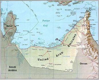 Mapa Spojenych Arabskych Emiratu Spojene Arabske Emiraty