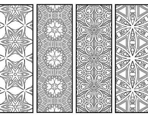 Geometric Pattern Colouring Bookmarks Set Instant Download Etsy