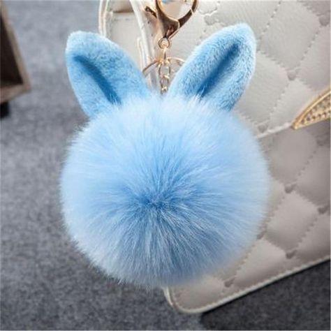 New Fluffy Bunny Toys Ear Keychain Rabbit Key Chain Fur Woman Bag Charms Keyring Pom Pom Car Pendant Pompom Holder Jewelry