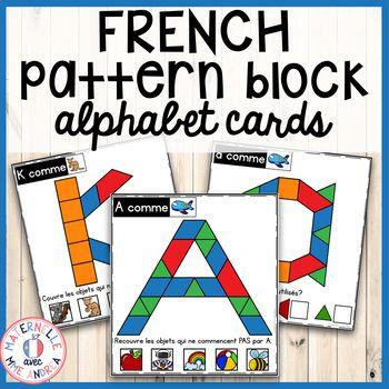 French Alphabet Pattern Blocks Math Literacy Centre Cards