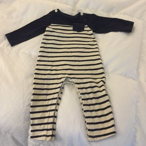 GAP adorable one piece toddler outfit Super cute navy and cream one piece outfit with buttons on the shoulders and snap closure on the inner legs. Soo cute! Baby GAP Other