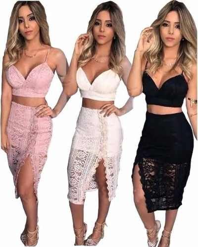 f04fc0c96e Roupas Femininas Conjunto Cropped E Shorts Renda Festa Pan - R$ 63,99 em Mercado  Livre