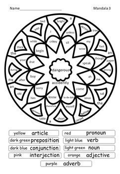 Parts Of Speech Mandalas Colour By Code By Ealee Tpt Parts Of Speech Coding Parts Of Speech Games