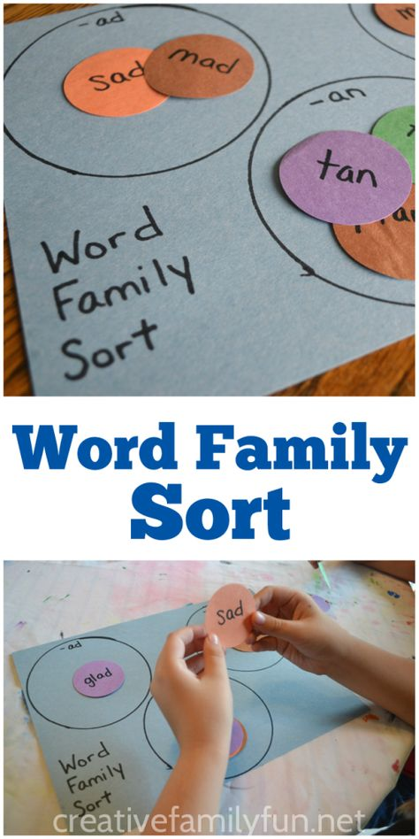 Family Sort Game Help your child practice word families with this easy-to-make word family sort game.Help your child practice word families with this easy-to-make word family sort game. Homeschool Kindergarten, Kindergarten Reading, Preschool Learning, Teaching Reading, Fun Learning, Teaching Kids, Homeschooling, Rhyming Kindergarten, Kindergarten Literacy Stations