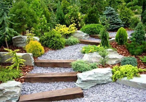 gartentreppe garten holz kies stein holz landschaftsbau Garten - gartengestaltung mit steinen und grsern modern