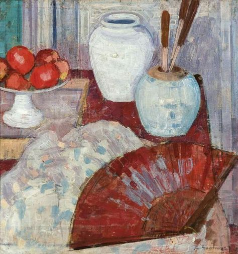 Jean Brusselmans Belgian 1884 1953 Nature Morte A L Eventail