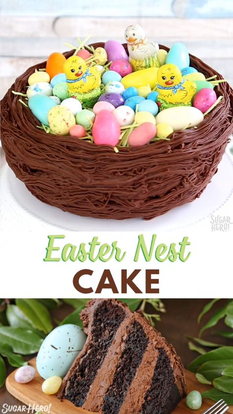 This Easter Nest #cake is such a cute Easter dessert! Decorate a chocolate cake to look like a bird's nest, then fill it with Easter egg candies.  #sugarhero #eastercake #eastereggs #easterbaking
