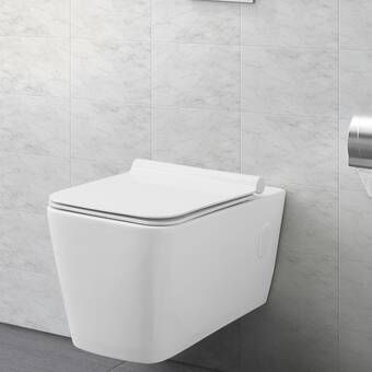 Vero Dual Flush Square Wall Mount Toilet Bowl With Glazed Surface