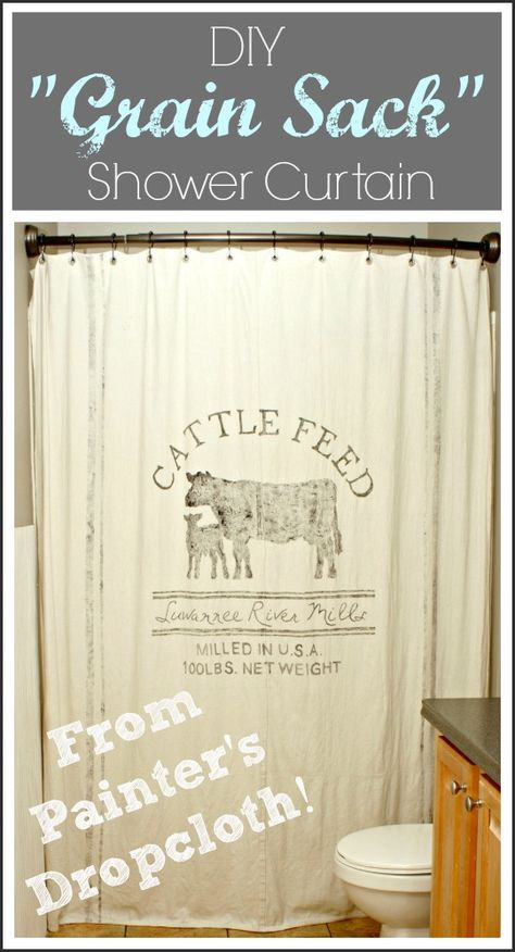 """Painter's Dropcloth Becomes DIY """"Grain Sack"""" Shower Curtain at The Cozy Old Farmhouse."""