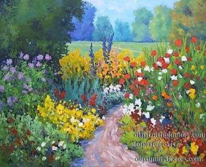 LANDSCAPE FLORAL ART PRINT Garden Path by Ellie Freudenstein 42x30 Modern Poster