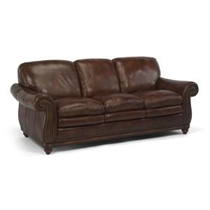 New living room furniture - Latitudes Belvedere traditional leather nail head trim sofa by Flexsteel