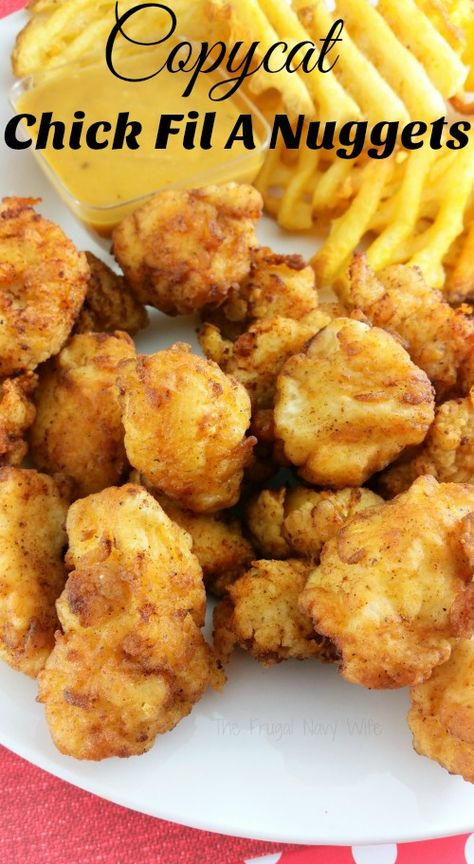 If you family loves heading to Chick Fil A as much as mine you are probably looking for this Copycat Chick Fil A Nuggets Recipe! luncheon ideas food recipe The BEST Copycat Chick Fil A Nuggets Recipe + Sauces Copycat Chick Fil A Nuggets Recipe, Chic Fil A Nugget Recipe, Church's Chicken Copycat Recipe, Chickfila Chicken Recipe, Chicken Nugget Recipes, Homemade Chicken Nuggets, Chicken Recipes For Kids, Kids Chicken Nuggets, Air Fryer Recipes Chicken Tenders