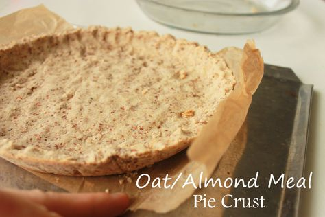 Easy Oat/Almond Meal Pie Crust recipe. 1 cup oatmeal ground, 1 cup almond meal, butter, maple syrup and sea salt. Mix press bake!