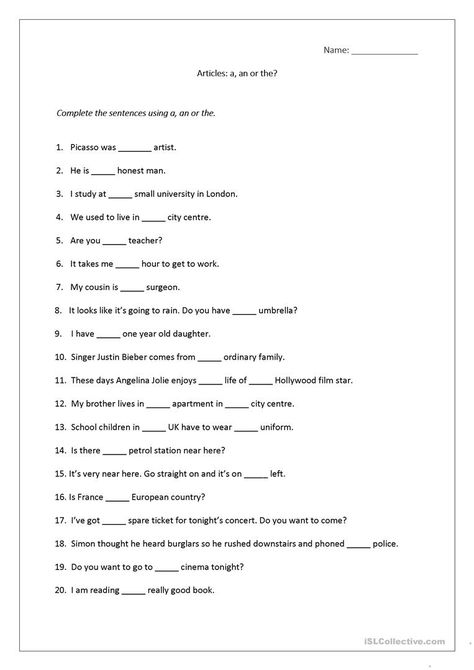 Articles worksheet (a, an, the) includes answers.