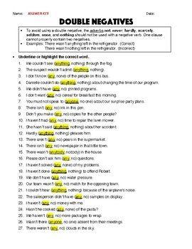 Double Negatives Worksheet Answer Key Transition Words