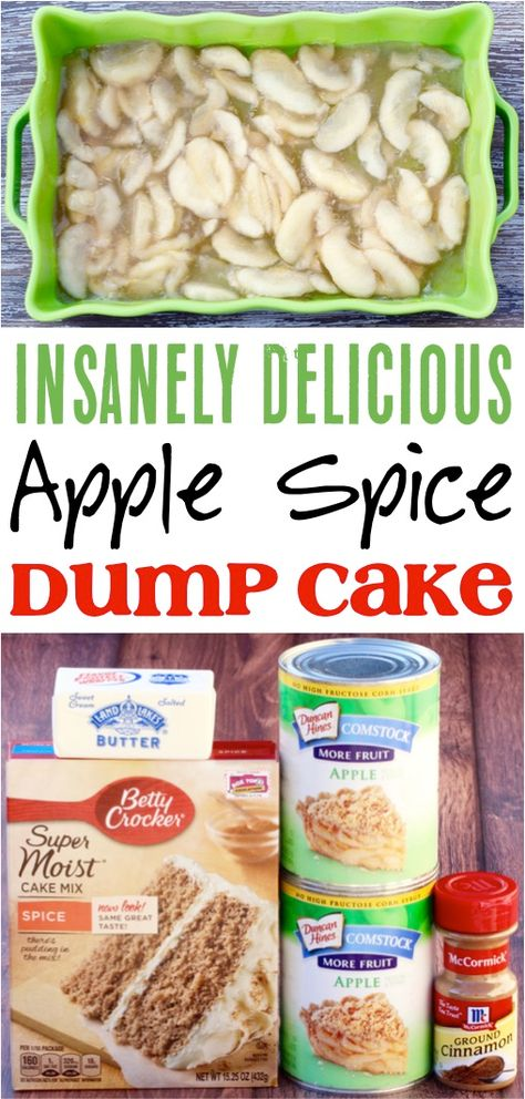 Apple Dump Cake!  This easy dessert recipe is so delicious and only takes 4 simple ingredients!