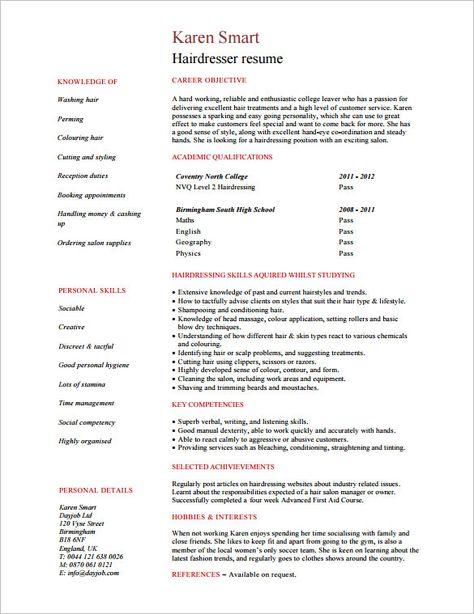 Resume for Hair Stylist - http\/\/resumesdesign\/resume-for-hair - hairdresser resume