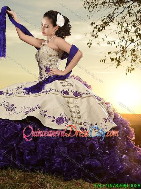 Classical White and Purple Organza and Taffeta Embroideried Sweet 16 Dress with Brush Train - http://m.quinceaneradresscity.com