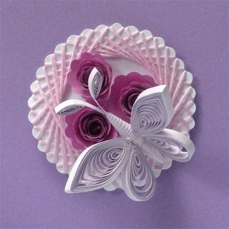 Quilled Butterfly on Flowers