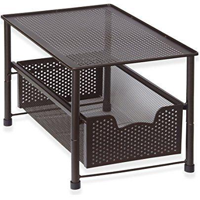 DecoBros Stackable Under Sink Cabinet Sliding Basket Organizer Drawer,Bronze