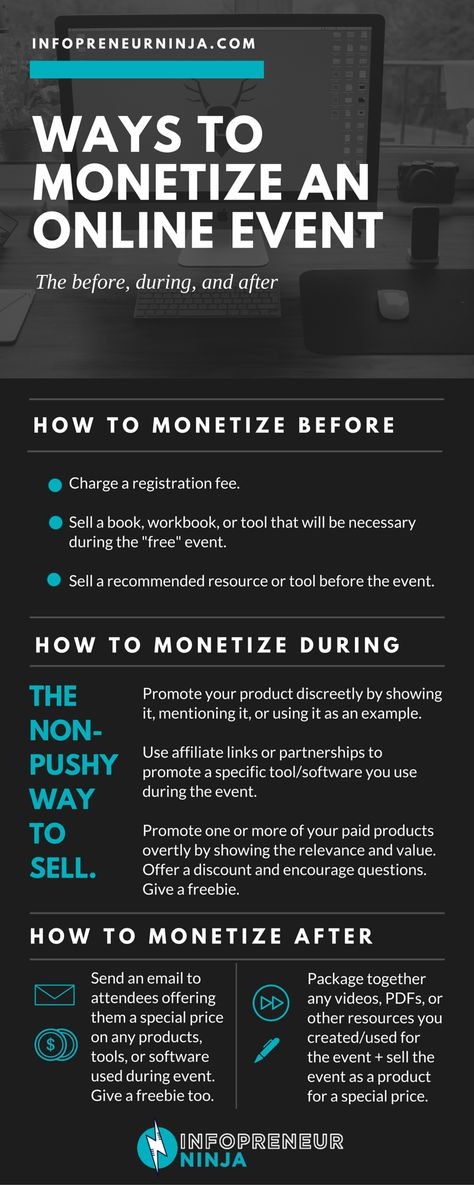Creating and hosting online events (such as workshops, challenges, and live trainings) can be fun + seriously helpful and profitable. AND you don't only have one way to monetize--there are several ways to make money from your event.